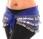 1X - 4X Plus Size Chiffon Belly Dance Hip Scarf with Coins - BLUE / SILVER