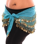 1X - 4X Plus Size Chiffon Belly Dance Hip Scarf with Coins - TURQUOISE / GOLD
