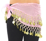 Kids Size Chiffon Hip Scarf with Coins -  PINK / GOLD