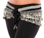 Velvet Belly Dance Hip Scarf Belt with Coins - BLACK / SILVER