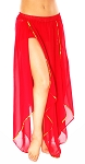 Belly Dance Petal Skirt with Sequin Trim - RED / GOLD