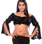 Burnout Velvet Tribal Gypsy Top - BLACK