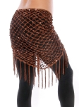 Crochet Net Shawl Scarf with Square Sequins & Fringe - CHOCOLATE BRONZE