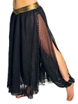 Belly Dance Skirt with Harem Pants - BLACK