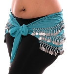 1X - 4X Plus Size Chiffon Belly Dance Hip Scarf with Coins - TURQUOISE / SILVER