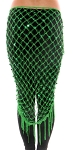 Crochet Net Shawl Scarf with Square Sequins & Fringe - GREEN