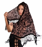 Velvet Medallion Shawl Scarf - BLACK on BEIGE