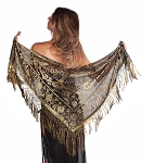Velvet Medallion Shawl Scarf - ANTIQUE GOLD / BLACK