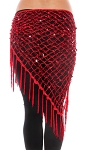 Crochet Net Shawl Scarf with Square Sequins & Fringe - RED