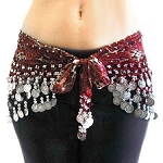 Chiffon Belly Dance Hip Scarf w/ Beads and Coins - ANIMAL PRINT - BURGUNDY / SILVER