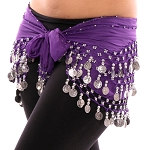 Chiffon Belly Dance Hip Scarf with Beads & Coins - PURPLE GRAPE / SILVER