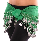 Chiffon Belly Dance Hip Scarf with Beads & Coins - GREEN / SILVER