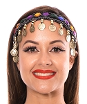 Jewel Belly Dance Jewelry Headband with Coins & Beads - GOLD