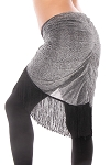 Plus Size Sparkling Lurex Hip Scarf with Fringe - BLACK / SILVER