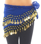 Kids Size Chiffon Hip Scarf with Coins - BLUE / GOLD