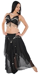 2-Piece Belly Dancer Costume with Coins - BLACK / SILVER
