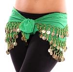 Chiffon Belly Dance Hip Scarf with Beads & Coins - GREEN / GOLD
