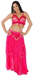 2-Piece Belly Dancer Costume with Coins - DARK PINK / GOLD