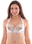 Beaded Satin Belly Dance Bra Top with Sequin Butterfly Design - WHITE