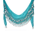 Plus Size Chiffon Belly Dance Hip Scarf with Coins - TEAL / SILVER
