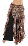 Belly Dance Belt Over-Skirt with Long Ruffle Fringe - TIGER