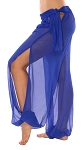 Sheer Belly Dance Harem Pants with Leg Slits Side Tie - ROYAL BLUE