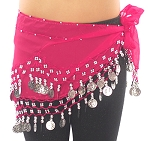 Kids Size Chiffon Hip Scarf with Coins - ROSE PINK / SILVER