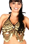 Coin Belly Dance Costume Bra with Swags & Mirror Accent - GOLD