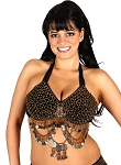 Classic Beaded Belly Dance or Tribal Bra with Coins - HEMATITE / AMBER