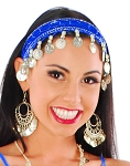 Sequin Belly Dance Costume Headband with Coins - BLUE / SILVER