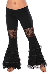Belly Dance & Tribal Fusion Bell Bottom Lace Ruffle Pants - BLACK