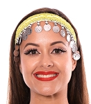 Sequin Belly Dance Costume Headband with Coins - YELLOW / SILVER