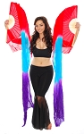 Silk Fan Veils Belly Dance Prop (Set of 2) - RED / PURPLE / TURQUOISE