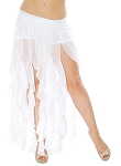 Belly Dance Belt Over-Skirt with Long Ruffle Fringe - WHITE