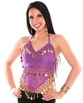 Sheer Chiffon Belly Dance Halter Top with Coins - PURPLE / GOLD