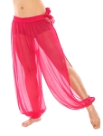 Sheer Belly Dance Harem Pants with Leg Slits Side Tie - MAGENTA