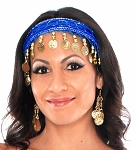 Sequin Belly Dance Costume Headband with Coins - BLUE / GOLD