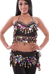 Multi-Color Paillette & Coin Belly Dance Bra & Belt Costume Set - GOLD