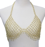 Metal Mesh Bra Cover with Bells - GOLD