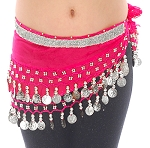 Toddler Size DELUXE Coin Hip Scarf - RASPBERRY / SILVER