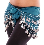 Chiffon Belly Dance Hip Scarf with Beads & Coins - DEEP TEAL BLUE / SILVER