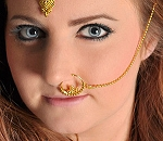 Bollywood Jewelry Ornate Ear to Nose Chain - GOLD