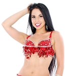 Sequin Beaded Belly Dance Bra with Teardrop Paillettes - RED / SILVER - size S