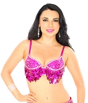 Sequin Beaded Belly Dance Bra with Teardrop Paillettes - FUCHSIA / SILVER