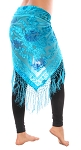 Velvet Floral Shawl Hip Scarf with Fringe - TURQUOISE / BLUE