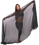 Silk Belly Dance Veil - BLACK