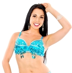 Sequin Beaded Belly Dance Bra with Teardrop Paillettes - TURQUOISE / SILVER