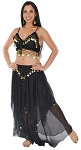 2-Piece Belly Dancer Costume with Coins - BLACK / GOLD