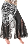 Triangle Chiffon Hip Scarf with Coins & Fringe - ZEBRA / SILVER