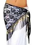 Tribal Gypsy Belly Dance Lace Shawl Hip Scarf with Coins & Fringe - BLACK / GOLD